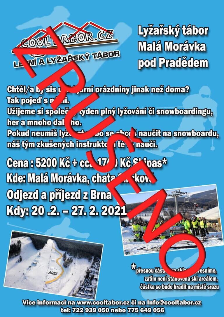 S velkou lítostí Vám oznamujeme zrušení Lyžařského tábora 2021 v Malé Morávce.
